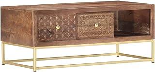 vidaXL Stolik kawowy z litego drewna mango z 2 szufladami, 1 półka, ręcznie rzeźbiony, stół do salonu, stolik pomocniczy, ...
