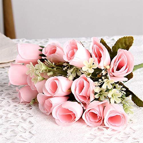 Wunderschönen 1 Bund 15 Seide Rosen künstliche Blume Rose Strauß, for die Hochzeit nach Hause Hotel Tischdekoration gefälschter Blume Brautstrauß verwendet Hausgarten dekorieren ( Color : Pink )