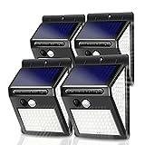 Luz Solar Exterior 140 LED [4 Pack / 3 Modos / 1200mAh] Foco Solar con Sensor de Movimiento Luces Solares para Exteriores Impermeable IP65 Lámpara Solar de Seguridad Inalámbricas para Jardín