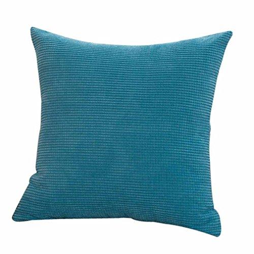 Nunubee Velours Côtelé Housse de Coussin 43 * 43cm Carré Coton Taie d'oreiller de Décoration de la Maison Voiture Lit Canapé,Bleu Clair