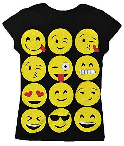 GIRLS T-SHIRTS & LEGGINGS EMOJI EMOTICONS SMILEY FACES SHORT SLEEVE TOPS 7-13 Y, Black, 9-10 years