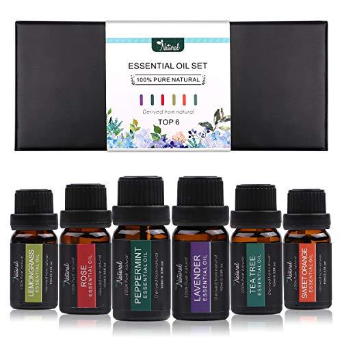 Dsaren Aceites Esenciales Naturales Aceite Aromaterapia Lavanda, Hierba de Limón, Menta, Árbol de té, Naranja Dulce para Humidificador Difusor Masajes Regalo (Floral)