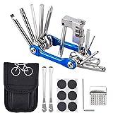 Oziral Kit Reparación Herramientas Bicicleta 11 en 1 Herramienta multifunción (con Separador Cadena) con Kit de Parche y palancas para neumáticos,Herramienta Bici Multifunción Portátil Compacta