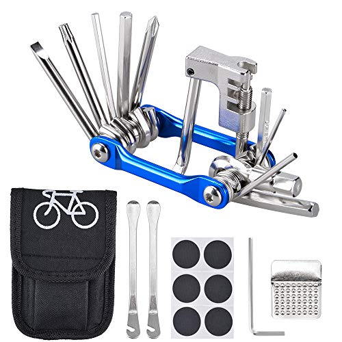 Fahrrad-Multitool Oziral 11 in 1 Werkzeuge für Fahrrad Reparatur Set mit Kette Werkzeug und Reifenpatch Hebel, Selbstklebendes Fahrradflicken usw für Reisen, Outdoor, Camping, im Haushalt