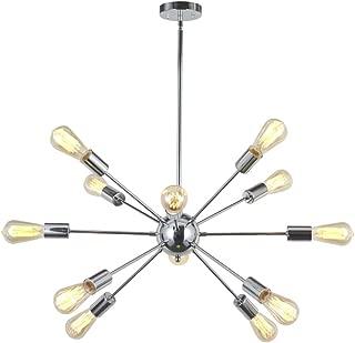 VINLUZ Sputnik Chandelier Chrome 12 Lights Mid Century Modern Chandelier lighting Industria Kitchen Lighting Fixtures Ceiling Lights Pendant