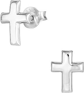 Hypoallergenic Sterling Silver Little Cross Stud Earrings for Kids (Nickel Free)