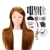 Tête À Coiffer Professionnelle Neverland Têtes d'exercice avec Maquillage 50% Cheveux Naturel pour le Salon Coiffeur Poupée avec Support+Ensemble de Tresse 24''