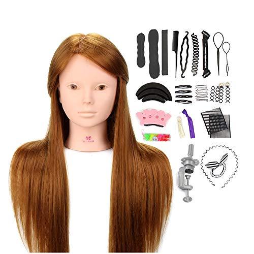 Tête À Coiffer Professionnelle Neverland 24'' Tete a Maquiller Têtes d'exercice avec Maquillage 50% Cheveux Naturel pour le Salon Coiffeur Poupée avec Support+Ensemble de Tresse 24''