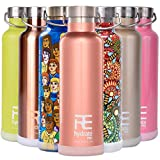 Rehydrate Pro Rosegold 25oz Double-Insulated Stainless Steel Water Vacuum Bottle Flask -Compatible to Swell Yeti Hydro for Hot or Cold Drinks. 25 Oz + Bonus 'Flip N Sip' Sports Cap