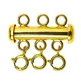 YINETTECH Conector de 3 hebras espaciadoras de tubo deslizantes con 3 cierres de anillo de resorte S925, juego de joyería para manualidades, pulseras, collares chapados en oro