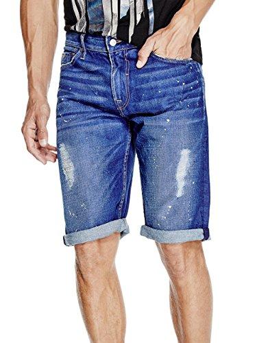 GUESS Men's Regular Denim Short in, Opulent Blue Wash Destroy, 34