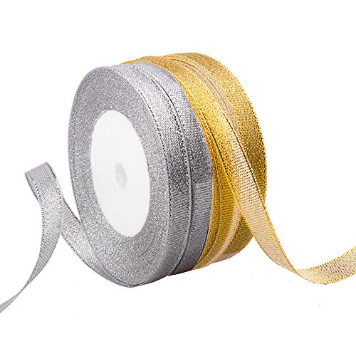 Feyarl Sparkle Ribbon 2/5-inch Premium Glitter Ribbon Crafters Wedding Holiday Home Decoration Ribbon Gift Wrap Card Making Hair Bows Floral Projects Ribbon 4 Rolls(Gold &Silver)