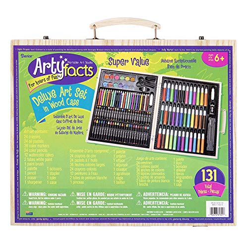 of darice box sets Darice (1103-10) 131-Piece Premium Art Set – Art Supplies for Drawing, Painting and More in a Wood Case - Makes a Great Gift for Children and Adults