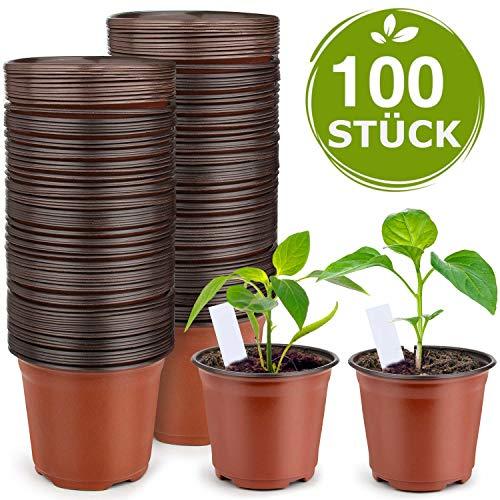 100 Stück Premium Pflanztöpfe mit 10 Steckettiketten - Pflanzentöpfe aus Kunststoff - Pflanztopf mit den Maßen 10 / 10 / 9 cm - Anzuchttöpfe für Innen und Draußen - Blumentopf Plastik Pflanzentopf
