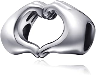 Love Heart in Your Hand Charm Sterling Silver Finger Love Valentine Charm Bead for Bracelets/Gift for Family-Friends