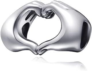 Sambaah Love Heart in Your Hand Charm Sterling Silver Finger Love Valentine Charm Bead for Bracelets/Gift for Family-Friends