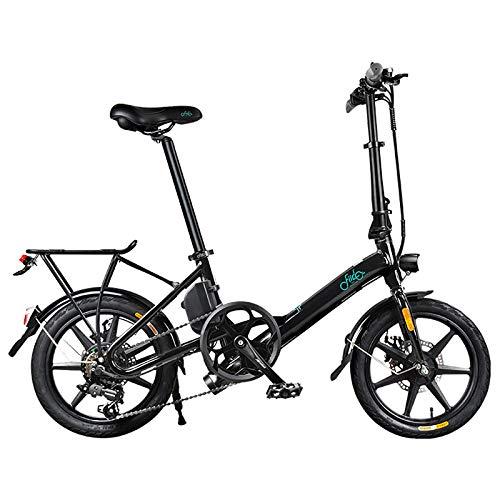 Bicicleta Eléctrica Plegable, Bicicleta Eléctrica De 16 Pulgadas 250W 36V 7.5AH Batería De Litio, Frenos De Disco Doble, 3 Modos De Conducción, Bicicleta Eléctrica De Ciudad Ajustable De 6 Velocidad