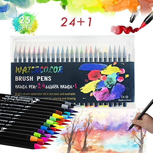 Lehoo Castle Brush Pen Lettering 24 acuarelas bolígrafos + 1 pincel agua - Punta flexible suave de pincel, rotuladores acuarelables, pluma estilográfica para cartas, caligrafía