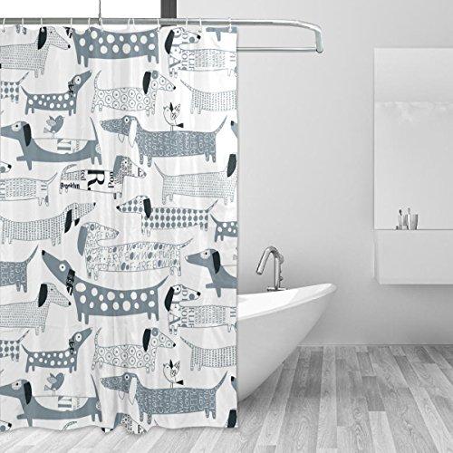 Bennigiry Duschvorhang mit Dackel-Motiv, Polyester-Stoff, 152,4 x 182,9 cm, Anti-Schimmel, antibakteriell, geruchlos, wasserdicht, Badezimmer, dekorativer Badvorhang, H&e-Motiv