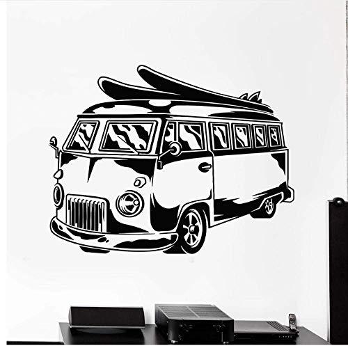 Hippie Bus Vinyl Wandtattoo Für Büro Mobile Car Surfen Strand Urlaub Wandaufkleber Dekor Kinderzimmer Kinderzimmer Kunst 32 X 42Cm