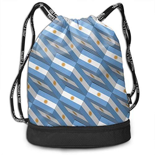 PmseK Mochila con Cordón,Bolsas de Gimnasia, Bolsa de Deporte Argentina Flag 3D Art Pattern Cordón Bolsa de Gimnasia para Adolescentes