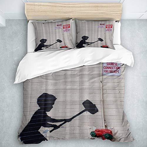 ZOANEN Bedding - Duvet Cover Set,Banksy Graffiti Art Hammer Boy Style Printing,Multicolor Superfine Fiber Quilt Cover Pillowcase Set135 x 200cm