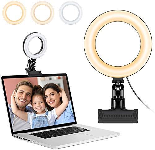 Anillo de luz LED, Anillo de luz de 6.3'y Modo de 3 Colores 10 Brillo Regulable, luz de Mesa giratoria de 360 ° con Clip de Resorte para Selfie móvil Youtube Vlog de Maquillaje en vivo-A18
