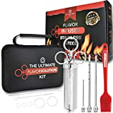 The Ultimate Flavor Injector Kit for Meat with Case • Stainless Steel Meat Injector Kit for Smoker w/ 3 Injector Syringe Rods, Flavor Brush & Cleaning Brushes • Great for Brisket, Chicken & More!