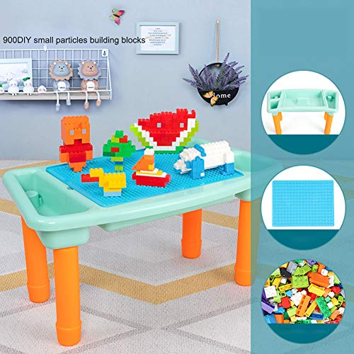 Multi-activiteitentafelset voor kinderen, bouwstenen speelgoed, speeltafel Inclusief bouwsteentafel met opslag, bodemplaatbord,C