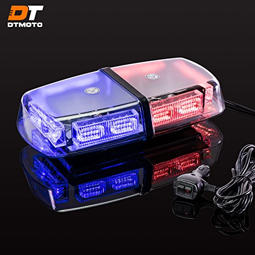 "12"" 36W Blue Red LED Emergency Police Mini Light Bar - Waterproof Magnetic Roof Top Mount Strobe Warning Police Lights For Vehicles Cars Trucks"