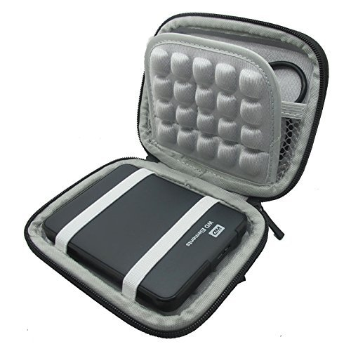 co2UK(TM) Nero EVA antiurto Pad viaggio di trasporto della pelle Box Cover protettiva Caso Borse custodie Per 2.5' inch WD Western Digital My Passport Ultra Elements/ Samsung M3 Slimline/Toshiba Canvio Basics/Seagate Backup Plus Slim Hard disk disco rigido esterni portatili 1TB