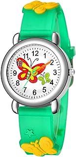 UKCOCO Relógio infantil com estampa de desenho 3D – Relógio de quartzo com pulseira de silicone para meninos e meninas