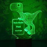 LAUBLUST 3D Dinosaurier Lampe - Personalisiertes LED Farbwechsel Nachtlicht - Dino-Geschenk für Kinder | Holzsockel