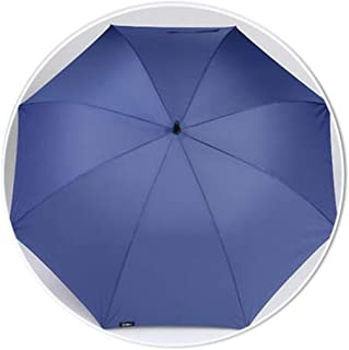 Household Umbrella Long Handle Men's Large Umbrella Double Reinforced Umbrella Solid Color Business Umbrella Black, Blue, Red HYBKY (Color : Blue)