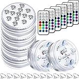 6 Juegos Luces LED Sumergibles y Control Remoto con Imán y Ventosa 13 Luces LED de Piscina Luz Decorativa Subacuática Impermeable Funciona con Pilas para Fuente Acuario Piscina Estanque