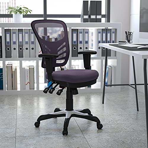 Flash Furniture Bürostuhl mit mittelhoher Rückenlehne – Ergonomischer Schreibtischstuhl mit verstellbaren Armlehnen und Netzstoff – Perfekt für Home Office oder Büro – Dunkelgrau