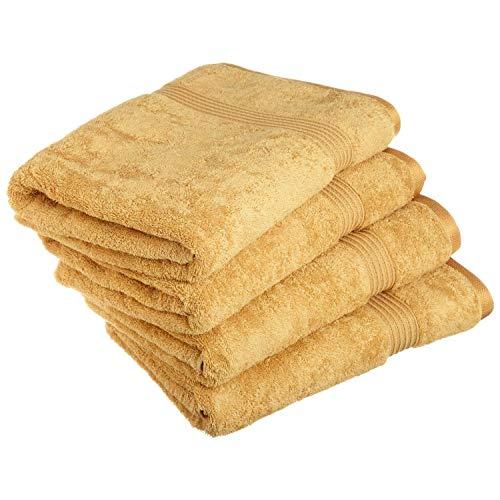 Pure Long Staple Cotton 4 Piece Bath Towel Set Machine Washable and Hypoallergenic, Gold