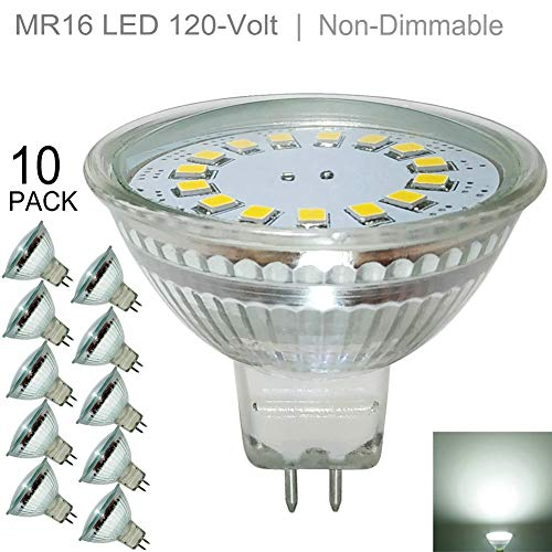 Full Glass 4W MR16 LED Bulb,120V,Daylight 5000K(Cool White),GU5.3 LED Bright White Spotlight (35W-50W Halogen Bulb Equivalent) Flood Light 130 Degree Wide Beam Angle -  CX Lighting
