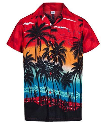 Redstar Fancy Dress - Camisa Hawaiana de Manga Corta - para Hombre - Palmeras - Todas Las Tallas - Rojo - XL