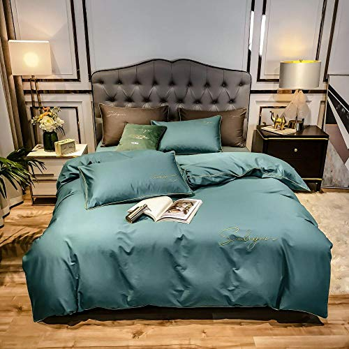 Eastbride Microfiber Duvet Cover Set,Bedding Duvet Cover,Four piece set in pure cotton and solid color bed, fashionable embroidered pillowcase quilt cover-Light blue_Double