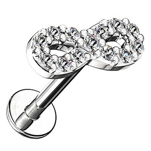 Piersando Ohr Piercing mit Unendlich Infinity Glitzer Kristall eichen Stab Tragus Helix Cartilage Knorpel Stecker Labret Monroe Lippe Silber 6mm
