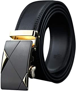 Black Leather golden buckle Belt For Men