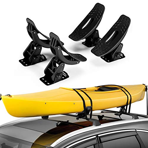 ALAVENTE Saddles Kayak Carrier Boat Surf Ski Roof Top Mounted on Car SUV Crossbar, Universal Kayak & Canoe Car Racks
