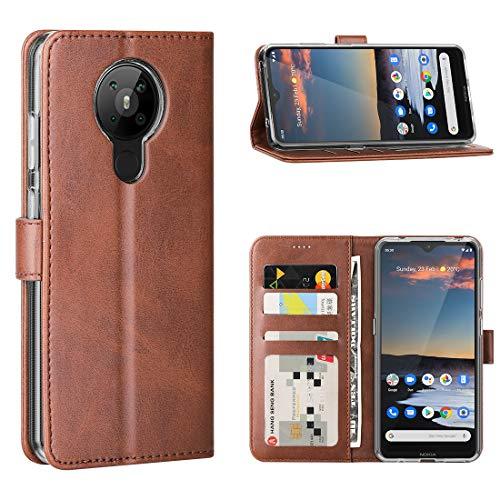 FUNMAX+ Nokia 5.3 Hülle, PU Leder Handyhülle mit 3 Kartenfächer, Schutzhülle Hülle Tasche Magnetverschluss Flip Cover Stoßfest für Nokia 5.3 2020 (Braun)