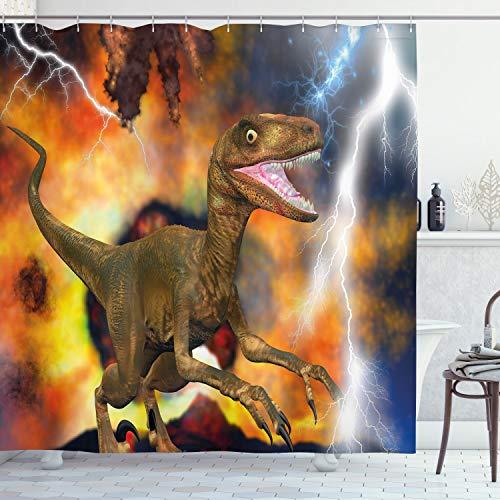 Ambesonne Dinosaur Shower Curtain, Dramatic Catastrophe Destruction Background with Allosaurus Fragilis Illustration, Cloth Fabric Bathroom Decor Set with Hooks, 70' Long, Orange Khaki