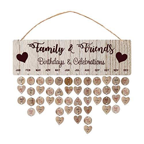 Janly Clearance Sale Decoración del hogar, recordatorio de cumpleaños de madera, calendario, fiesta, hogar, decoración de pared, manualidades, para Navidad, hogar y jardín, (multicolor)