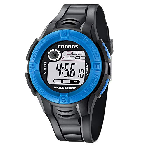 HaIfeng Montre Enfants Kid Montre Enfants Sports de Plein air garçons Waterproof Horloge numérique Unisexe Multifonction Affichage de la Date Baby Girl Semaine Wristwatch (Color : Blue)