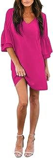 Women's Dress Sweet & Cute V-Neck Bell Sleeve Shift Dress Mini Dress