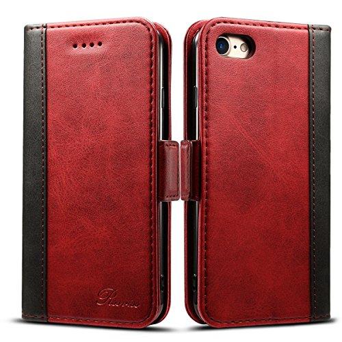 Rssviss Coque pour iPhone Se 2020/6/6s/7/8, Etui Cuir PU de iPhone Se 2020 avec Emplacements Cartes Housse Protection iPhone 6/6s/7/8 Boucle Magnétique Pochette 4,7 Pouces Rouge