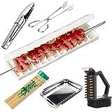 GRTBNH Artefacto de Cuerda de Barbacoa Multifuncional, Pincho de Carne de Barbacoa 3 en 1 con Herramientas de Barbacoa, Dispositivo de Cuerda de Carne para Llevar para Cocinar al Aire Libre